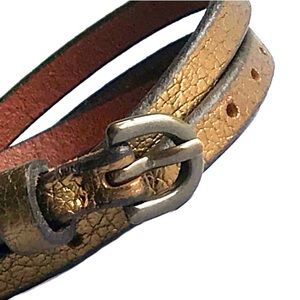 Bronze Leather Skinny Belt